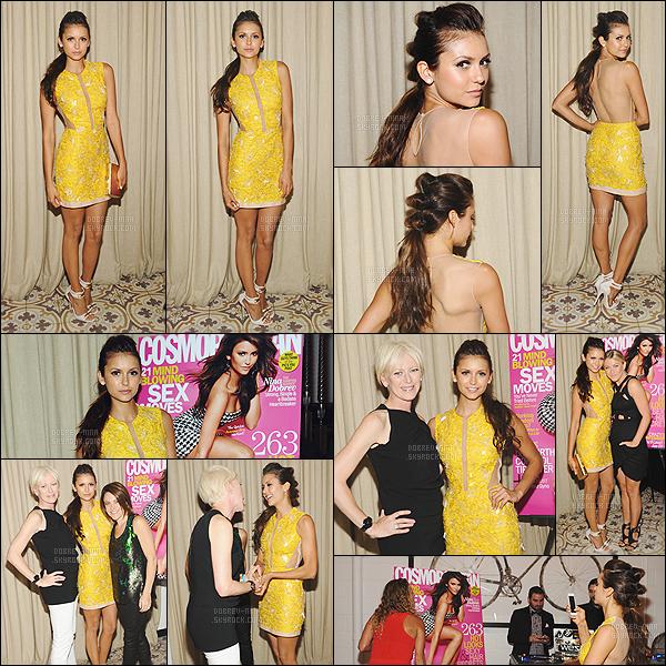 11/08/2013 : La jolie Nina Dobrev était présente au Cosmopolitan's Summer Bash situé à Los Angeles. (CA) Cette soirée était à l'honneur de Nina, car elle fait la couverture du magazine Cosmopolitan 2013. Je trouve que le jaune lui va a ravir à Nina !