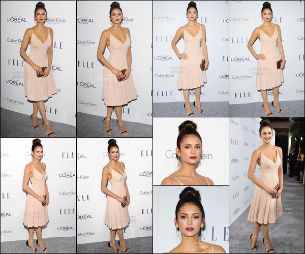 - 19/10/15 : Belle Nina était présente au « 22nd Annual ELLE Women In Hollywood Awards » à Los Angeles.   Nina portait une superbe robe beige de chez Calvin Klein, des chaussures par Casadei. Je n'ai rien à redire sur la coiffure et le make-up - UN TOP! -
