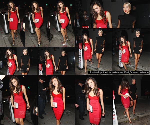- 22/11/2015 : Après la cérémonie, Nina était présente avec Julianne Hough à l'after party de Jennifer Lopez à LA.   Nina a changé de robe et a opté pour un jolie robe rouge moulante qui lui va très bien. Après elles ont été repérées quittant le restaurant Craig's. -