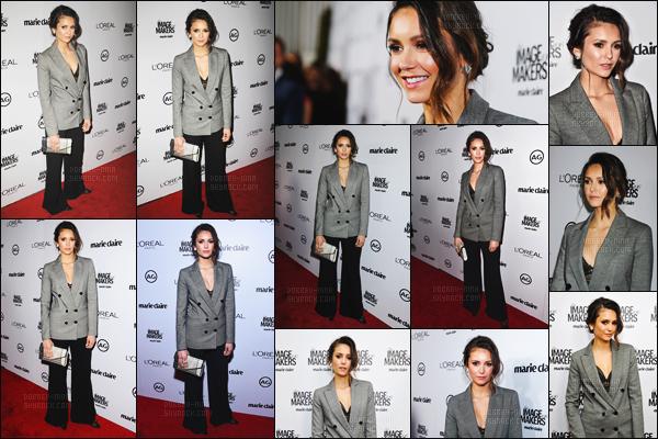 12/01/16: La superbe Nina Dobrev était présente au « Marie Claire's Image Maker Awards » - à Los Angeles. Nina était vraiment de toute beauté ce soir, mais malheureusement je ne suis pas très fan de son costume. Par contre un top pour la mise en beauté