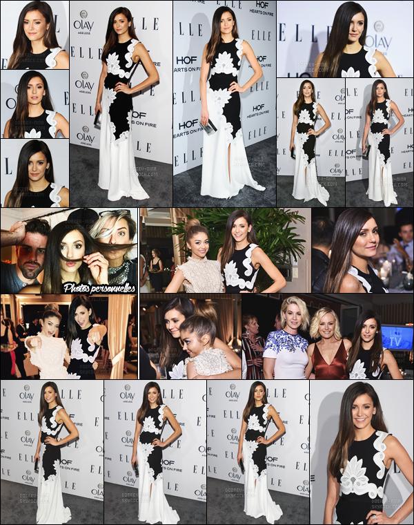 20/01/2015 : Nina Dobrev était présente au «  Elle's Women In Television Dinner » à West Hollywood. Nina était vraiment magnifique ! Elle portait une robe signé Antonio Berardi - Nous voyons qu'elle est très complice avec l'actrice Sarah Hyland.