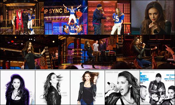 04/02/16: Miss Nina Dobrev a participé à l'émission américaine « Lip Sync Battle ». Nina était vraiment magnifique à la télévision et les prestations qu'elle a réalisé était vraiment énormes. Dommage qu'elle n'a pas gagner la battle ..