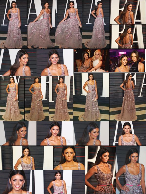 28/02/16 : La sublime Nina Dobrev était présente à la soirée des « Vanity Fair Oscar Party » à Los Angeles. Je suis bouche bée, Nina était tellement belle dans cette robe par le créateur Elie Saab. J'accorde un big top à ma magnifique idole Nina Dobrev !