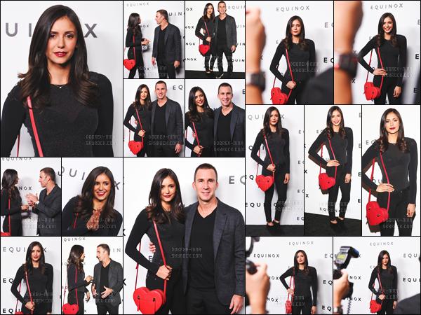 04/10/2016: Ma beauté Nina Dobrev était présente au « Equinox Hollywood Body Spectacle » à Los Angeles. Nina portait une tenue simple noire mais avec un détail rouge magnifique qui était son sac. Je lui accorde un top - Donne ton avis en commentaire !!