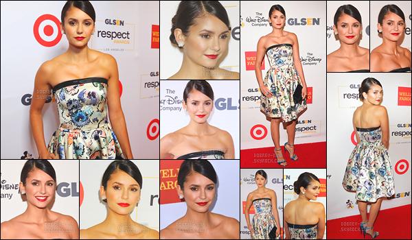 22/10/16 : La sublime Nina Dobrev était présente à l'évènement « GLSEN Respect Awards » à Los Angeles. Je trouve Nina vraiment splendide, je n'ai rien à redire sur sa tenue personnellement j'aime énormenent quand elle a les cheveux attachés. TOP ?