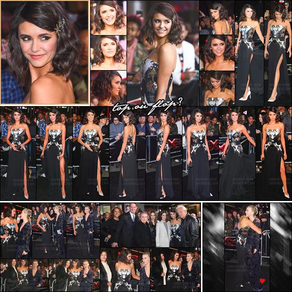 19/01/17: Le soir, la sublissime Nina  Dobrev était à l'avant première du film « xXx: Return of Xander Cage ». J'avoue que je n'aime pas trop la coiffure, les cheveux attachés comme ça je ne suis pas et la robe est sympa mais sans plus. Un bof pour Nina !