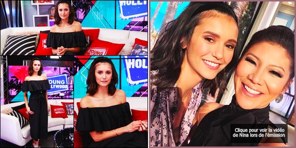 """27/09/17 ─ Nina Dobrev était présente sur le plateau de l'émission de télévison « Young Hollywood », Los Angeles. Nina s'est rendue à l'émission afin de continuer la promotion de son prochain film """"Flatliners"""". Nina était vraiment trop mignonne - je donne un top !"""