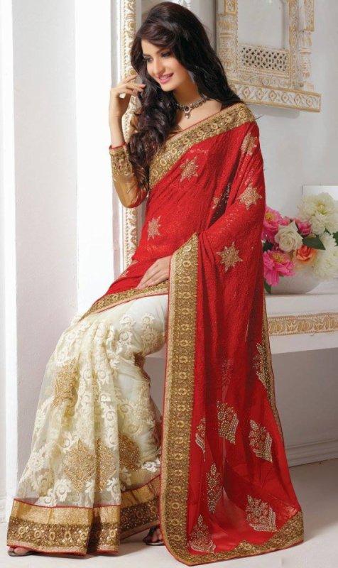 magnifique sari blanc et rouge !!!!!