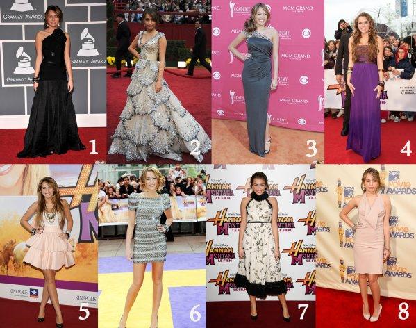 .  Robes de soirée 2009: Miley Cyrus  Mon avis: Gros Flop pour la 7 (on dirait une grand-mère) & 8 (la couleur ne lui va pas) Toutes les autres j'adore, soit parce qu'elles mettent en avant ses magnifiques jambes (5 & 6) Soit parce que la robe est simplement magnifique.  1. (08.02.09) Tapis rouge à LA 2. (22.02.09) Tapis rouge des OScar 3. (05.04.09) Country Music Awards 4. (20.04.10) Premiere de Hannah Montana le film à rome 5. (21.04.09) Premiere de Hannah Montana le film à Madrid 6. (23.04.09) Premiere de Hannah Montana le film à Londres 7. (27.04.09) Premiere de Hannah Montana le film à Paris 8. (31.05.09) Rapis rouge des MTV Movie Awards  .