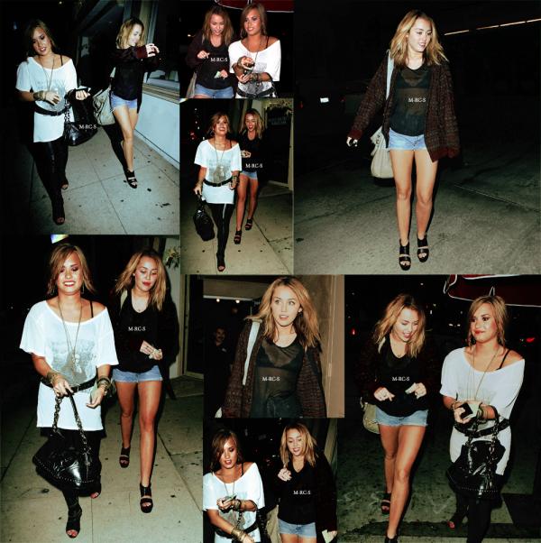 •>> Candid  15.09.10: Miley & Demi sont aller diner chez Jerry's Famous Deli  Enfin nous revoyons notre Miley sortir un peu avec ses amies. Car entre toutes ses sorties avec son Copain-Chien Liam et le tournage de LOL c'était à se demander s'il lui restait encore des amis =/ Il faut tout de même noter que Demi est très bien habillée et semble en forme alors que pour Miley c'est tout le contraire. Une tenue des plus banale (à part un haut transparent et un soutif trop petit)  et une mine très fade. Sans doute un coup de fatigue après ces vacances pas si reposantes !  .
