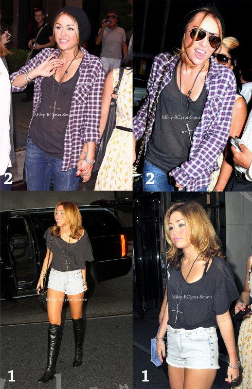 . 31.08.10: Miley sortant de son hotel x2  La première sortie je trouve Miley plutot resplendissante, souriante. On espere vraiment que ce qu'elle montre à l'exterieur est ce qu'elle ressent à l'interieur :) Pour ce qui est de la deuxieme sortie, je sais pas si ce sont les photos ou mon ecran qui fait loupe mais Miley n'aurait-elle pas grossit ? Il faut arreter de manger comme 4 sur le tournage Miley la !  .