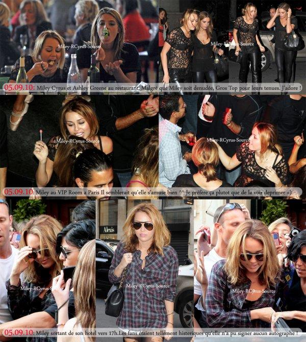 . 05.09.10: Miley à Paris Miley a crée un vrai mouvement de foule en sortant de son hotel comme vous pouvez le voir sur cette video Je sais qu'elle a beaucoup de fan mais je trouve ça dommage. Tout d'abord parce que ça peut lui donner une mauvaise idée des francais et ensuite ça l'a empêché de signé des autographes ! Ban sinon a part ça je trouve la premiere image plutot marrante avec Miley et Ashley au restaurant. Le moins qu'on puisse dire c'est qu'elles ont l'air de bien profiter ^^  .