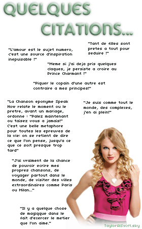 ___» Instant Presse__________________________________________________________Date: 21/01/11___ Taylor est actuellement en répétitions pour son Speak Now Tour, donc pas de candids pour le moment, mais voici quelques magazines parlant de Taylor : _____- Aux Etats Unis, Country Weekly a fait un article sur Taylor (here & here)   _____- En France, Dream Up a publié une interview de Taylor (here & here) et le magazine New Star Mag _____propose une interview + un question réponse entre la miss et Selena Gomez ! (here, here & here)  _____