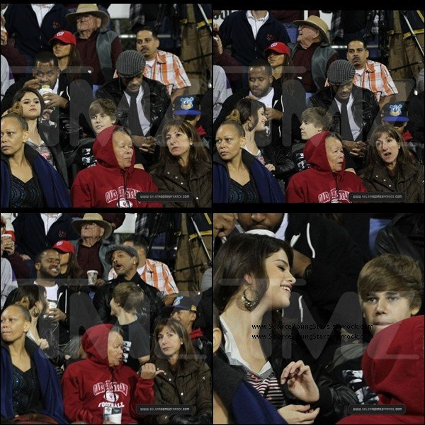 ".  29.10.2010 | Selena, en compagnie de Justin Bieber & les Smith regardant le "" Moorpark High School football game "". Jalouses les filles ? : P.  ."