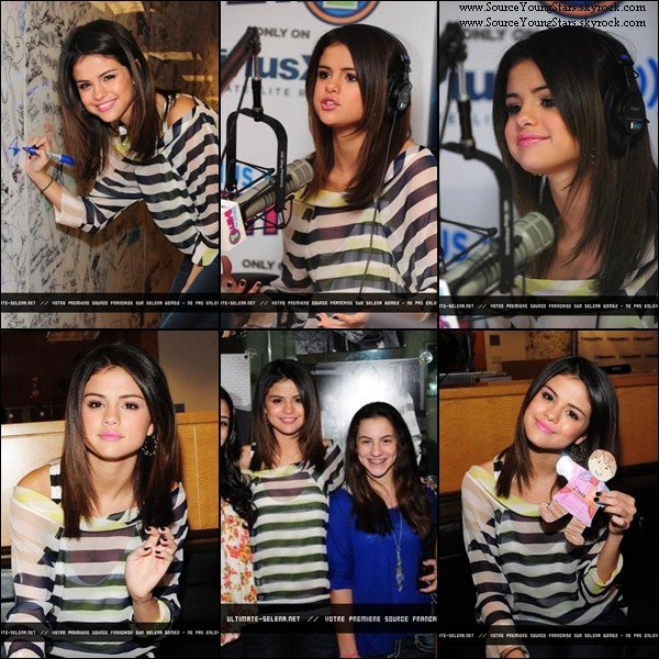 "♥  13.03.2011.  | Selena à l'aéroport de Los Angeles pour se rendre à New York City.(1er gif). ♥   14.03.2011.  | Selena s'est rendue au ""SiriusXM Studio"" pour un interview.(Montage).  ♥   14.03.2011.  