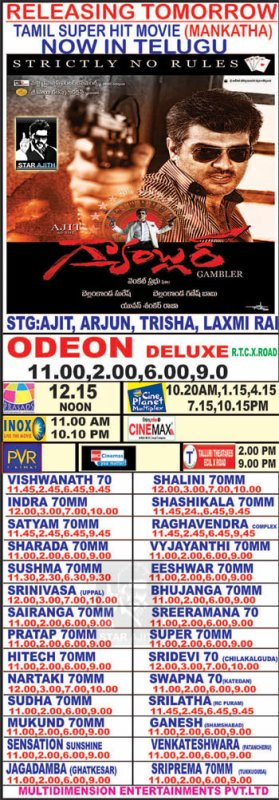 Mankatha In Telngu + ShowTimes In India.