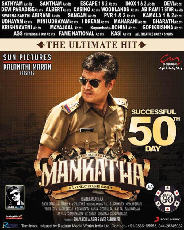 "Oct 19 : Mankatha ""Successful 50th Day"" Special Paper Ads"