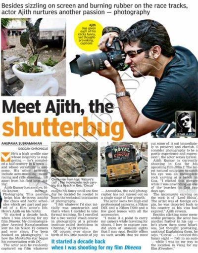 Mankatha à refaire en hindi & Rencontrez Ajith, le photographe