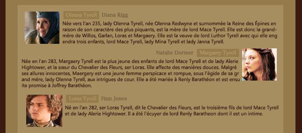 ► Famille Tyrell ᘚ sur FiireAndBlood.skyrock.com>> Clique ici pour voir la déco non décalée <<