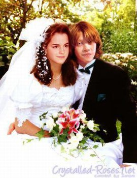 Harry potter, les couples: ginny et harry; hermione et ron; luna et neuville.