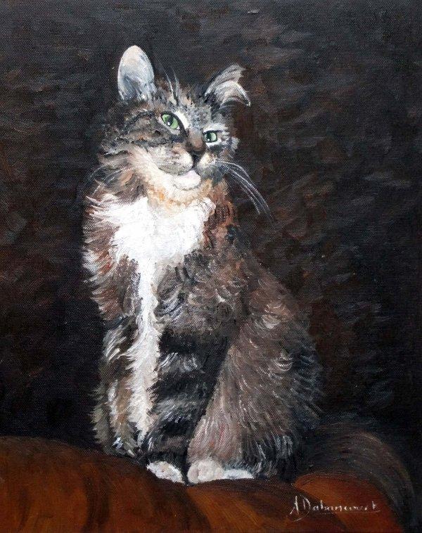Ma petite minette en photos et son portrait à l'huile que j'en ai fait.