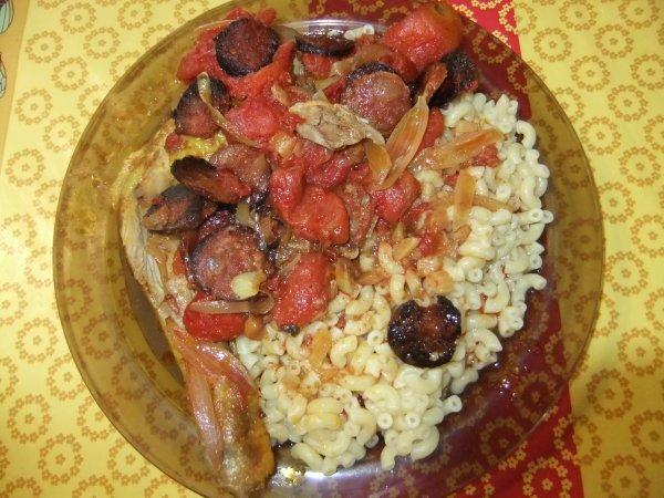 Au menu aujourd'hui: poulet au chorizo, recette de mon amie Tatimas!