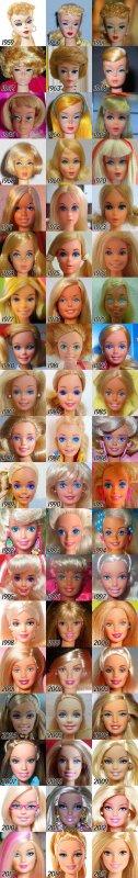 Têtes de Barbie dans le temps!