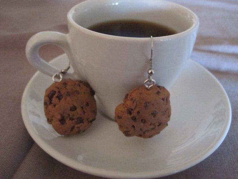 Boucles d'oreilles Cookies au chocolat