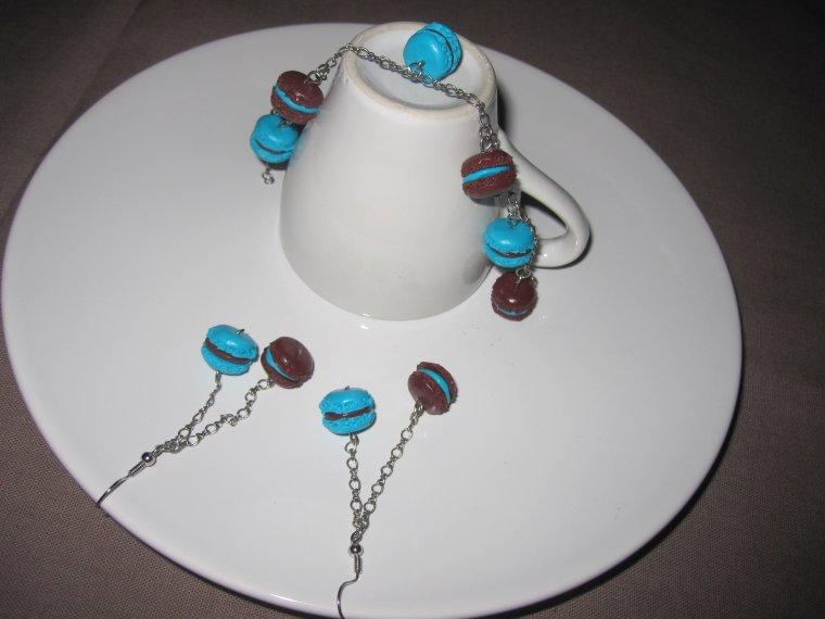 boucles d'oreilles et bracelet macaron