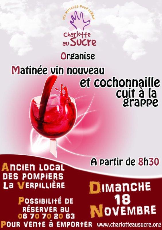 le Dimanche 18 Novembre : ARRIVÉE de la NOUVELLE Traditionnelle MATINÉE de CHARLOTTE au SUCRE pour l'arrivée du vin nouveau !!!