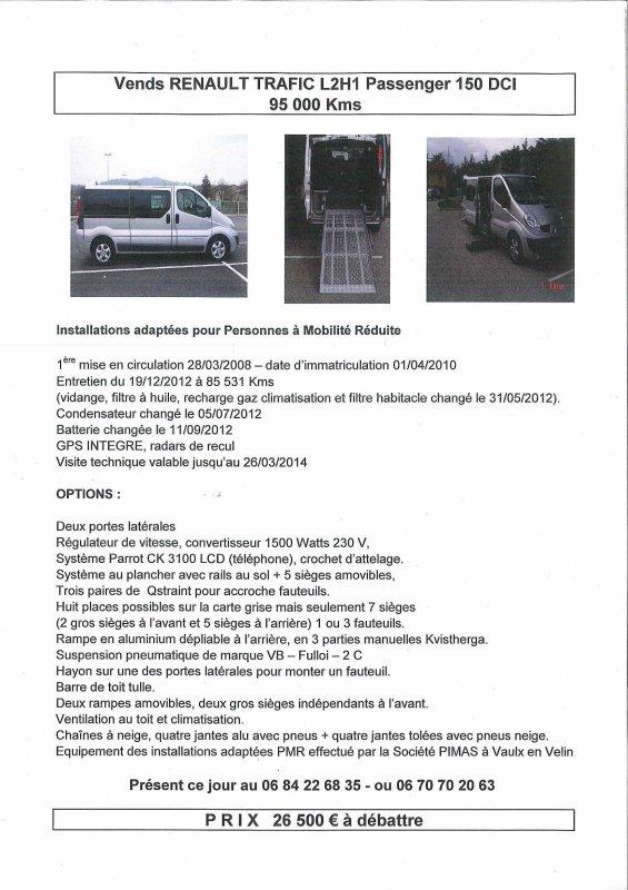 VENTE de 2 véhicules adaptés au transport de personnes à mobilité réduite