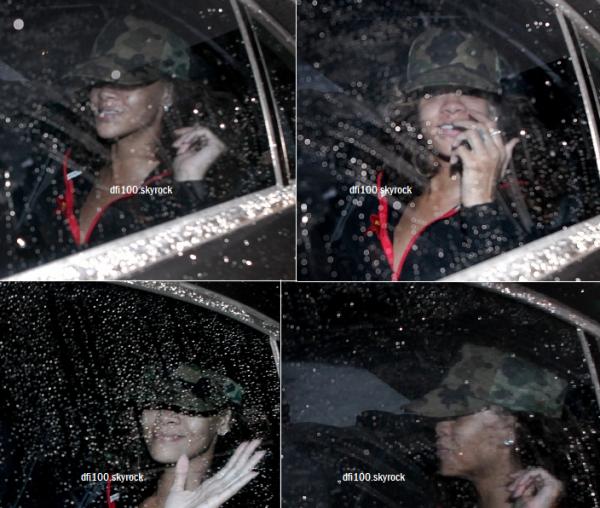 01/10/11 Rihanna dans une voiture l'emmenant à l'Odyssey Arena à Belfast