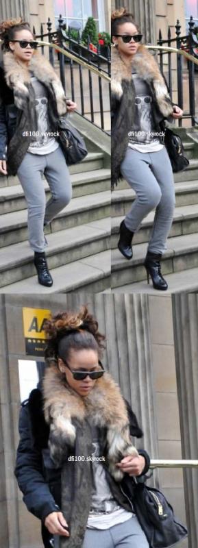 """Le 11/10/11  """"Rihanna quitte son hôtel à Glasgow"""""""