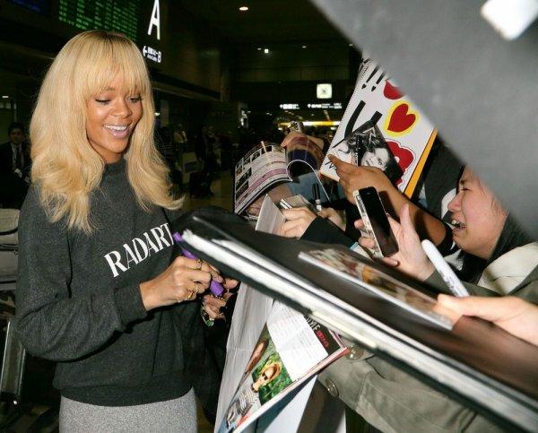 Rihanna arrive au Japon