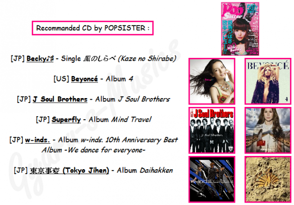 Aout 2011 - Recommanded CD (Magazines Popteen, Popsister et Jelly)