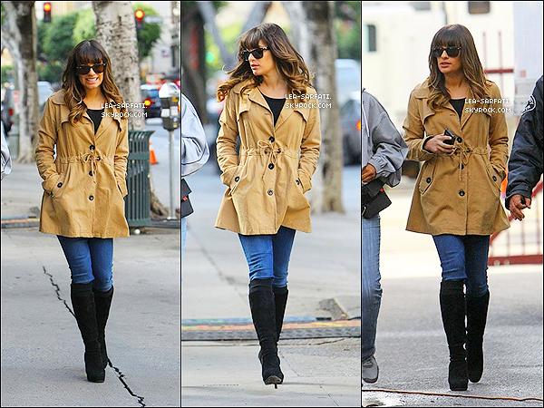 . 18/12/2012 : La belle Lea a été vue allant sur le tournage de la série « Glee ». .