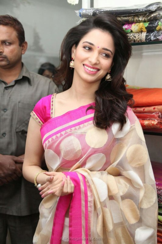Tamanna New Saree Stills At Trisha Showroom Launch