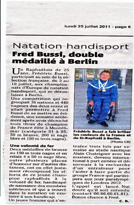 article NIce matin 25 juillet 2011 championnat europe berlin 2011