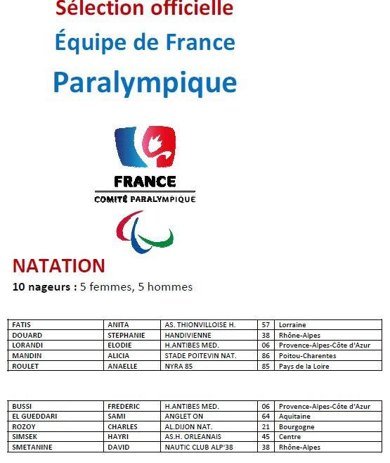 Selection  officiel de  Equipe de France handisport natation jeu paralympique  londre