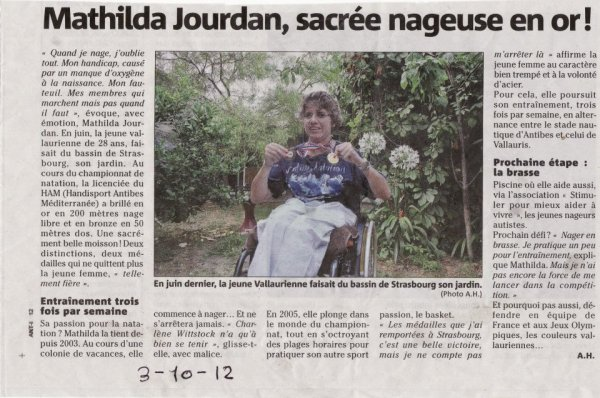 article nice matin de mathilda J du 2 octobre 2O12