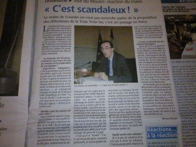 Droit de réponse des défenseurs de la Tour du Moulin au maire de Lourdes