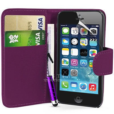 étui housse pochette iPhone 5 / 5S porte carte portefeuille
