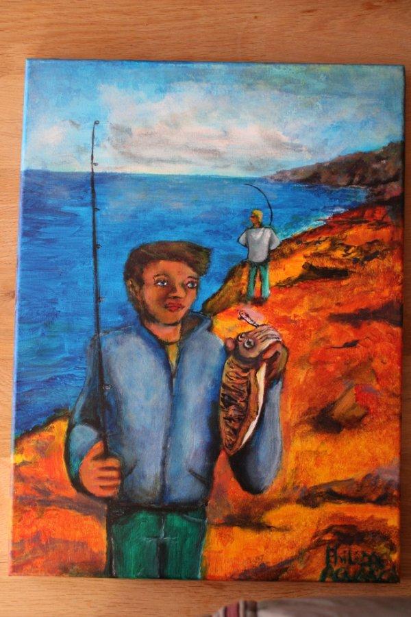 pêcheur de seiche  à l'acrylique