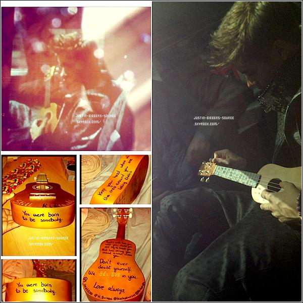 . 06/06/12 - Justin Quittant Les Studios De BBC Radio 1 À Londres.+ Justin attendant d'embarquer à l'aéroport Linate, à Milan.+Justin Jouant Du Ukelele Offert Par Une Fan Dans Son Taxi À Londres.