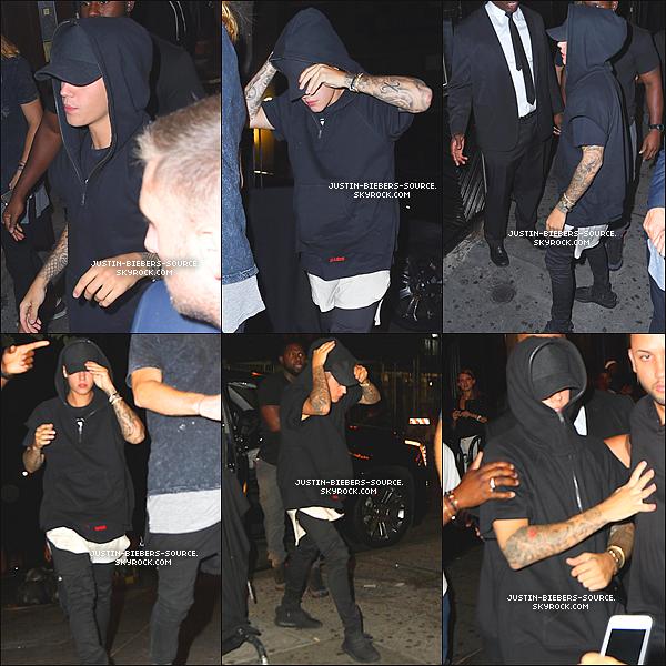 """Le 4 septembre, Justin à été vu arrivant à la fête de l'album """"Rodeo"""" de Travis Scott au club Up & Down à New York. + Le 4, Justin pendant la fête de l'album """"Rodeo"""" de Travis Scott au club Up & Down à New York. + Le 8 septembre, Justin à été vu dans New York. + Le 9 septembre, Justin à été vu arrivant au club Up & Down à New York. + Plus tard le 9, Justin à été vu quittant le club Up & Down à New York. + Le 9 septembre, Justin et Hailey Baldwin ont été vu quittant le club 1 OaK, à New York. + Le 9, Justin à été vu dans New York."""