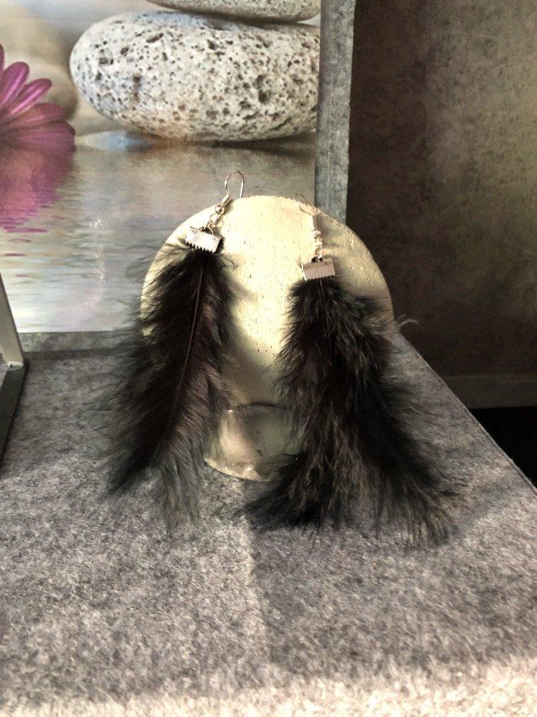 Boucles d'oreilles plumes noir dispo