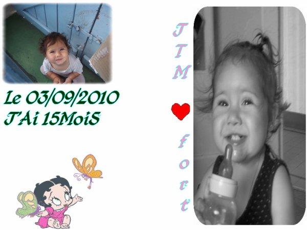 J'ai 15 Mois aujourd'hui et je fé de plus en plus le bonheur de ma famille le 03/09/2010