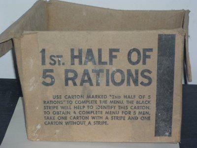 Carton de rations US trouver dans un grenier.