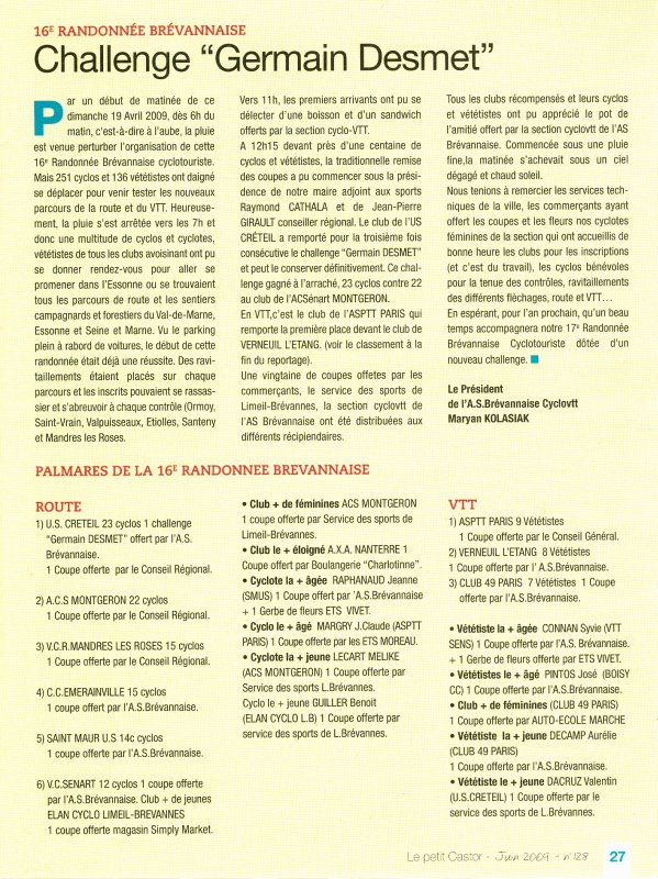 16e Randonnée Brévannaise (avril 2009) (5/5): CR du Président