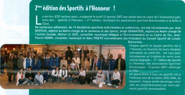 Sportifs brévannais à l'honneur (janvier 2007)